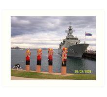Life Saver Bollards and Aust. Navy Ship Art Print