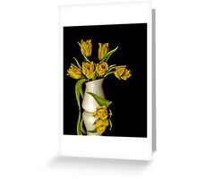 Yellow Tulips in White Vase Greeting Card