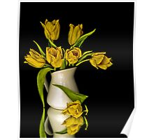 Yellow Tulips in White Vase Poster
