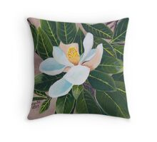 Magnolia Blossom ~ Original Oil Painting Throw Pillow