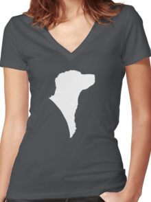 Brittany in white!  Women's Fitted V-Neck T-Shirt