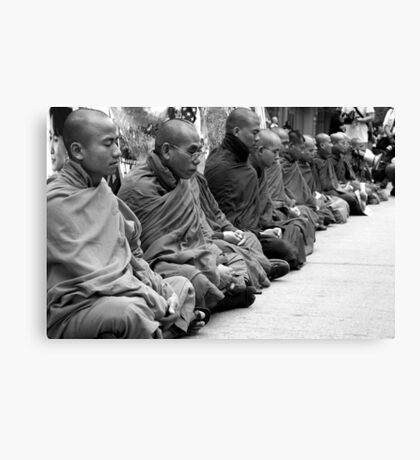 Burmese Monks in a Silent Meditation Protest - Pittsburgh G20 Canvas Print