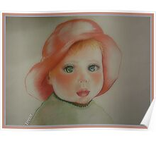 Little Girl With Red Hat Poster