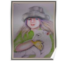 Young girl with sheep Poster
