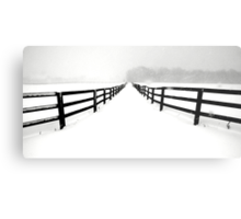 Fenced White Out Metal Print