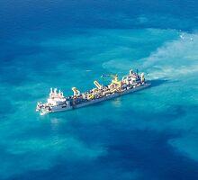 Ship creating new Atoll in the Maldives by Atanas Bozhikov NASKO