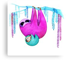 Colorful Sloths Canvas Print