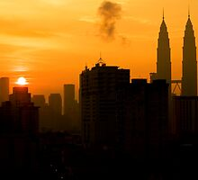 Sunrise and Twin Towers in Kuala Lumpur  by Charuhas  Images