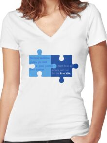 Man Up - Look for the Blue Bits  Women's Fitted V-Neck T-Shirt