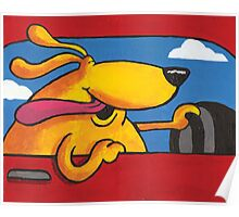 Joy Ride - Happy Dog Driving Poster