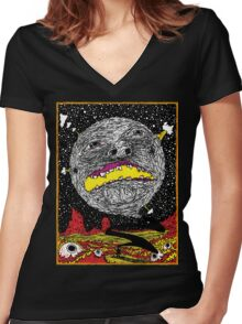 Moon Man Women's Fitted V-Neck T-Shirt