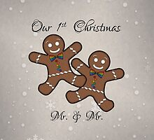 Our First Christmas Gingerbread Couple Gay Pride by LiveLoudGraphic