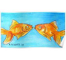Kissing Goldfish Poster