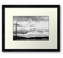 Birdies On The Wire Framed Print