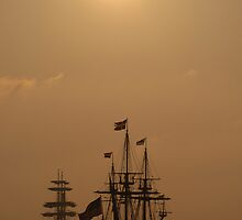 "Kalmar Nyckel and Gorch Fock II: ""Dawn Gold""  by mattmaples"