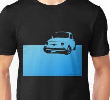 Fiat 500, 1959 - Light blue on black Unisex T-Shirt