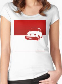 Fiat 500, 1959 - Red on white Women's Fitted Scoop T-Shirt
