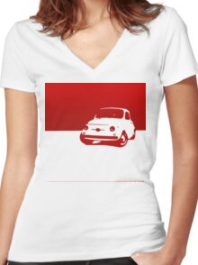 Fiat 500, 1959 - Red on white Women's Fitted V-Neck T-Shirt