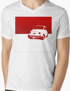 Fiat 500, 1959 - Red on white Mens V-Neck T-Shirt