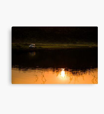My SUV and sunset Canvas Print
