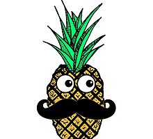 Funny Tropical Pineapple with Googly Eyes Mustache by Blkstrawberry