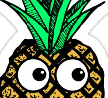 Funny Tropical Pineapple with Googly Eyes Mustache Sticker