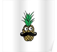 Funny Tropical Pineapple with Googly Eyes Mustache Poster