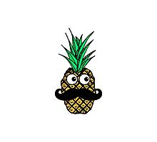 Funny Tropical Pineapple with Googly Eyes Mustache Photographic Print