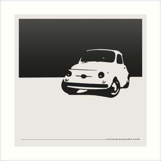 Fiat 500, 1959 - Black on white by uncannydrive