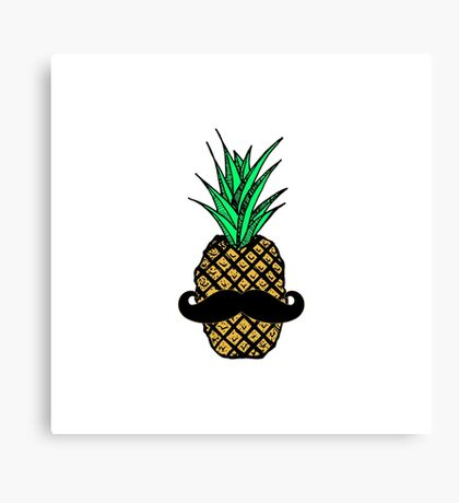 Funny Tropical Pineapple with Mustache Canvas Print