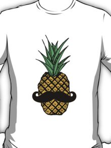 Funny Tropical Pineapple with Mustache T-Shirt
