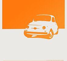 Fiat 500, 1959 - Orange on white by uncannydrive