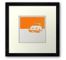 Fiat 500, 1959 - Orange on white Framed Print