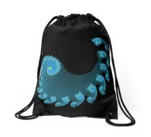 Blue Spiral Drawstring Bag
