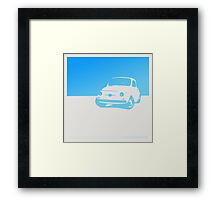Fiat 500, 1959 - Light blue on white Framed Print