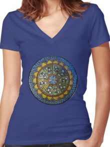 Bicycle Mandala in Blue Green and Yellow Women's Fitted V-Neck T-Shirt