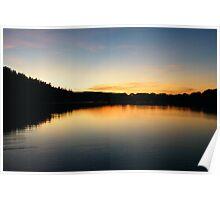 Curvey Sunset reflection, Keswick Lake District Poster