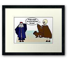 A Grim Debate Framed Print