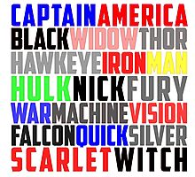 Avengers Name Collage Photographic Print