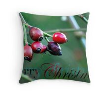 Berries Christmas Card Throw Pillow