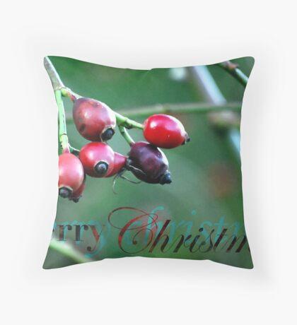 Berries Christmas Card Throw Pillow