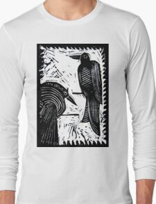 Black Birds Original Hand Pulled Linoleum Print Long Sleeve T-Shirt