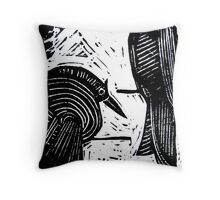 Black Birds Original Hand Pulled Linoleum Print Throw Pillow