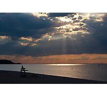 Light Rays over Long Island Sound from Cedar Beach Photographic Print