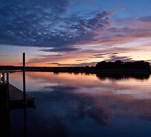 Stonybrook Harbor Sunset and dock - New York  by Jay Morena