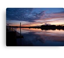 Stonybrook Harbor Sunset and dock - New York  Canvas Print