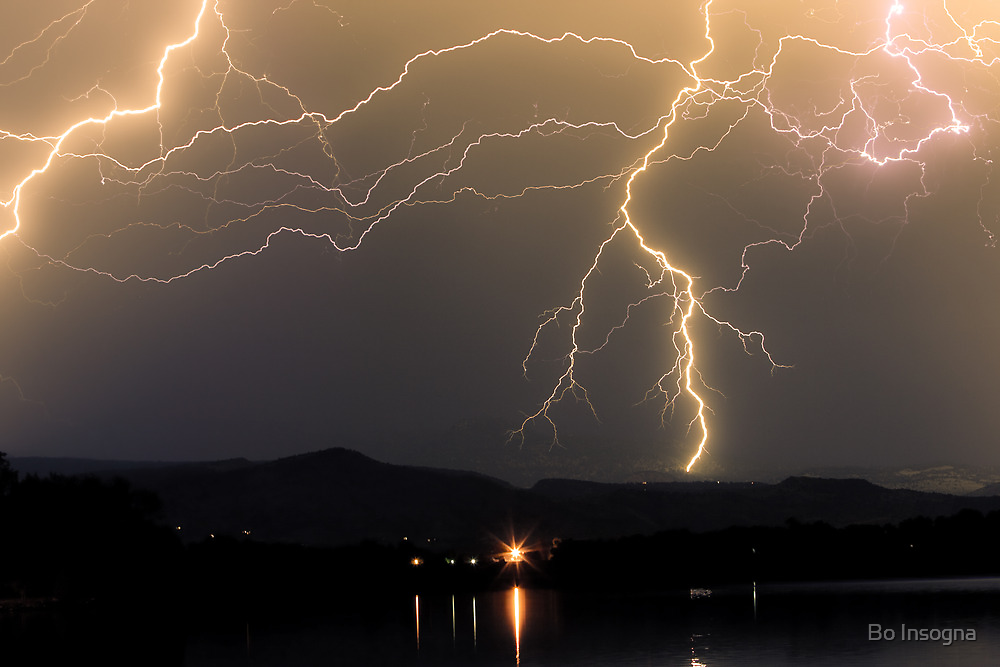 Rocky Mountain Foothills Lightning Storm by Bo Insogna