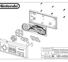 Exploded NES Controller Schematic by tigglebitties