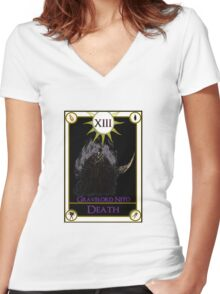 Gravelord Nito Death Tarot Card Women's Fitted V-Neck T-Shirt