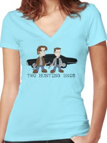 Two Hunting Bros Women's Fitted V-Neck T-Shirt
